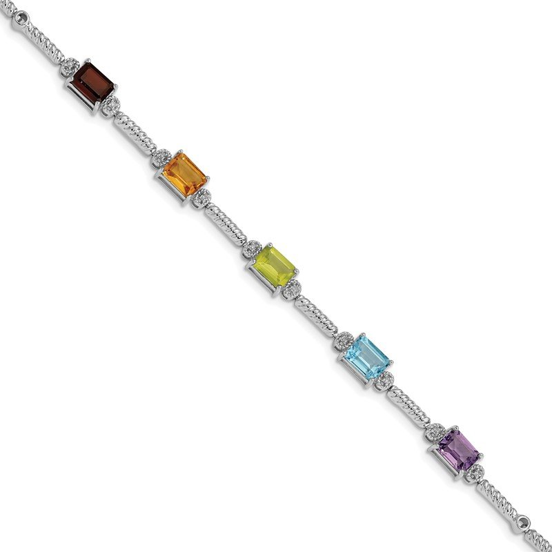 Quality Gold Sterling Silver Rhodium-plated Multi Gemstone & Diamond Tennis Bracelet