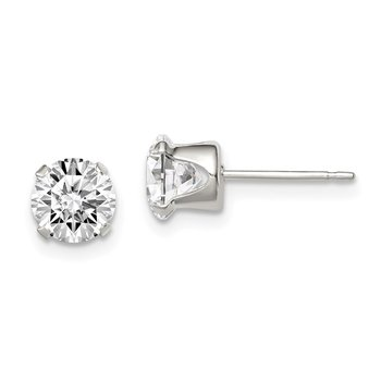 Sterling Silver 6mm Round Snap Set CZ Stud Earrings