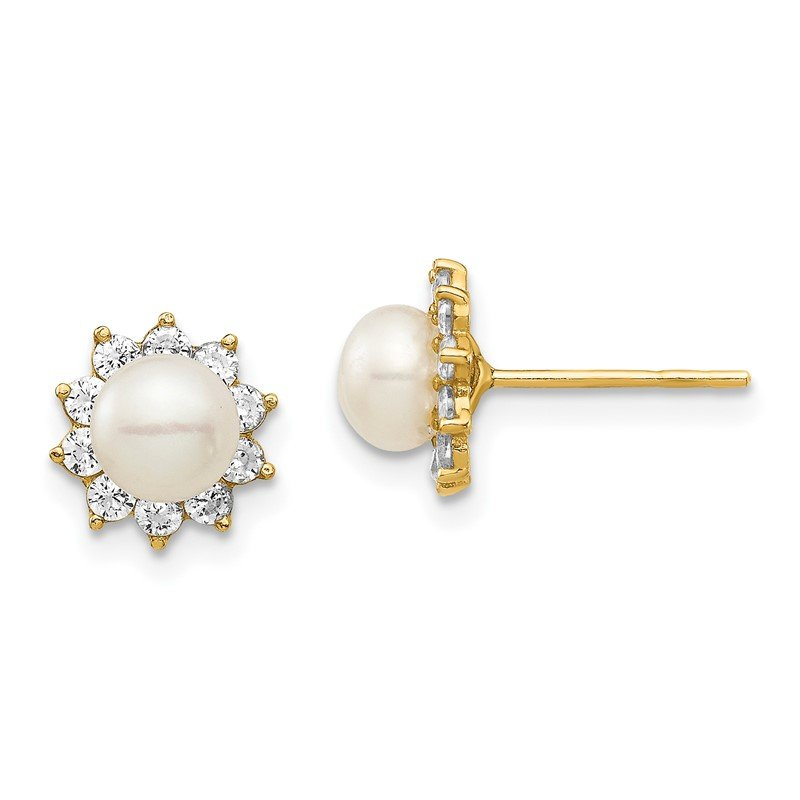 Quality Gold 14k Madi K 5-6mm White Button Freshwater Cultured Pearl CZ Post Earrings