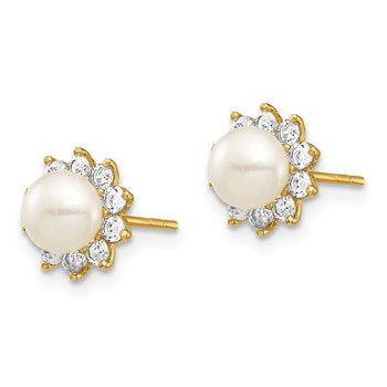 14k Madi K 5-6mm White Button Freshwater Cultured Pearl CZ Post Earrings