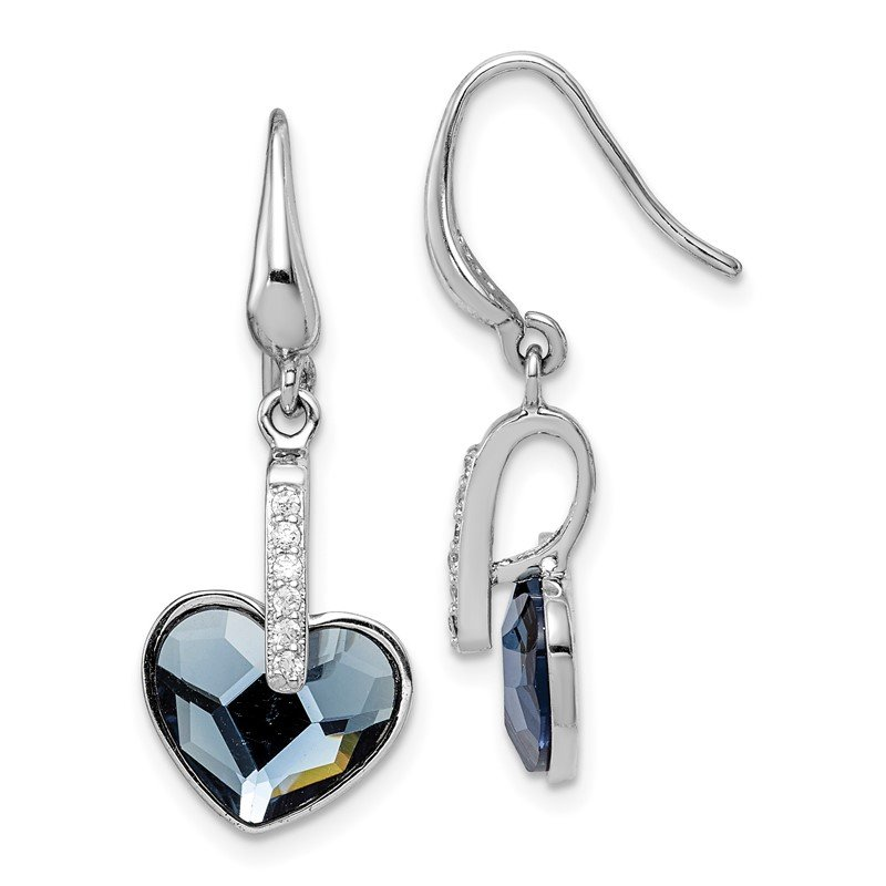 Quality Gold Sterling Silver RH-plated Clear/Blue Crystal Heart Dangle Earrings