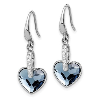 Sterling Silver RH-plated Clear/Blue Crystal Heart Dangle Earrings