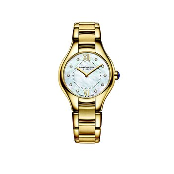 Ladies Quartz Watch, 24 mm Yellow gold PVD plated stainless steel 10 diamonds