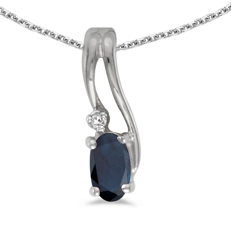 10k White Gold Oval Sapphire And Diamond Wave Pendant