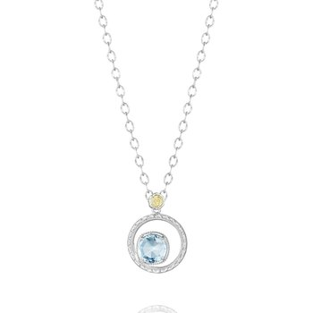 Silver Bloom Necklace featuring Sky Blue Topaz