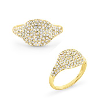 Diamond Pavé Domed Cushion Ring Set in 14 Kt. Gold