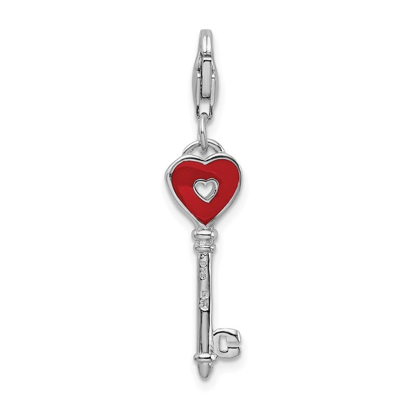 Arizona Diamond Center Collection Sterling Silver Rhodium-plated Enameled Heart Key w/Lobster Clasp Charm