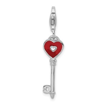 Sterling Silver Rhodium-plated Enameled Heart Key w/Lobster Clasp Charm