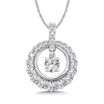 Diamond Round Pendant with Diamond Bale in 14K White Gold (1/2ct. tw.)