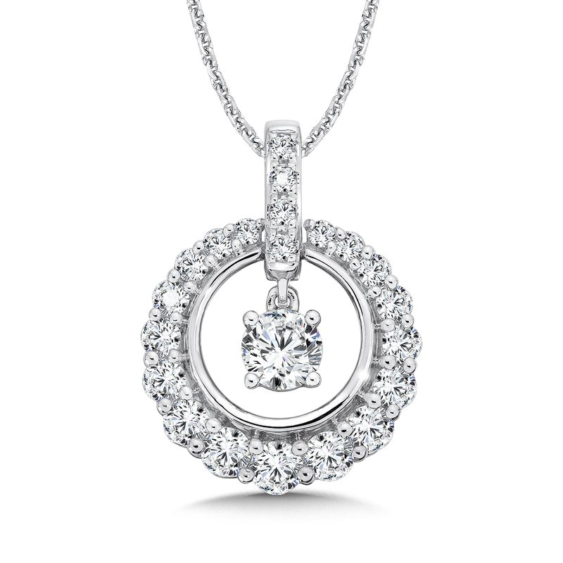 Caro74 Diamond Round Pendant with Diamond Bale in 14K White Gold (1/2ct. tw.)