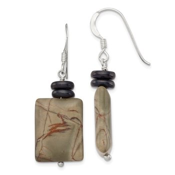 Sterling Silver Black Mother of Pearl/Picasso Jasper Earrings
