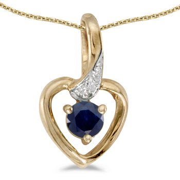 14k Yellow Gold Round Sapphire And Diamond Heart Pendant