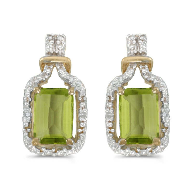 Color Merchants 14k Yellow Gold Emerald-cut Peridot And Diamond Earrings