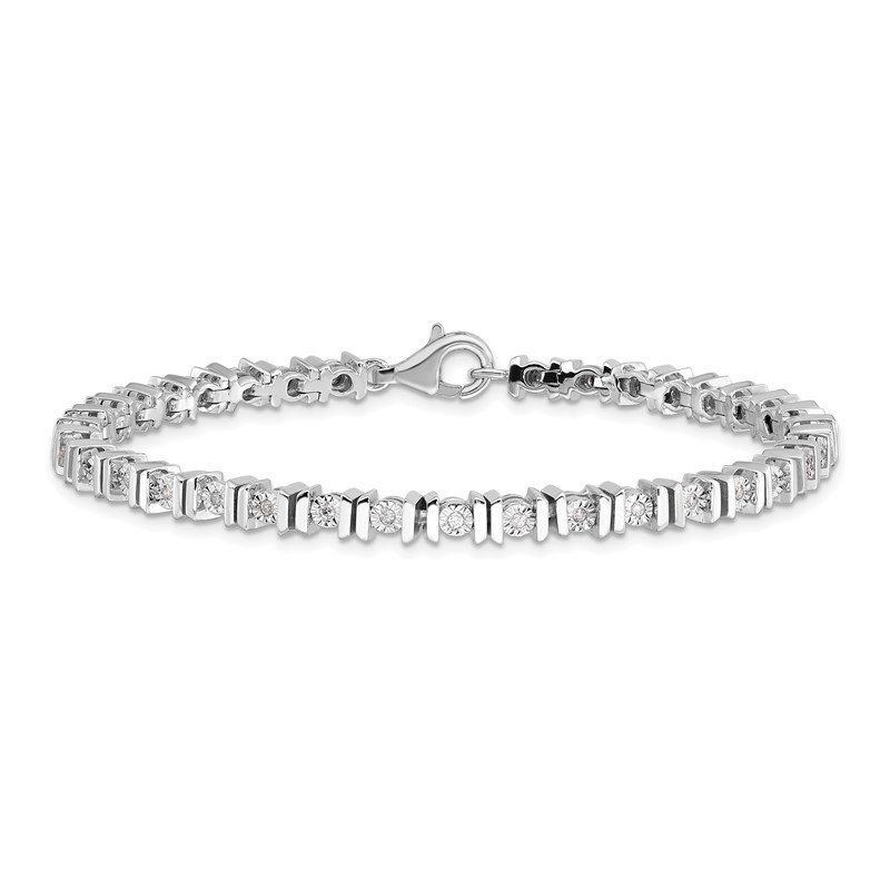 Fine Jewelry by JBD Sterling Silver Rhodium-plated Diam. Tennis Bracelet
