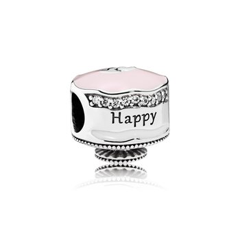 Happy Birthday Cake Charm, Mixed Enamel & Clear CZ