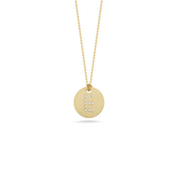 18KT GOLD DISC PENDANT WITH DIAMOND INITIAL E
