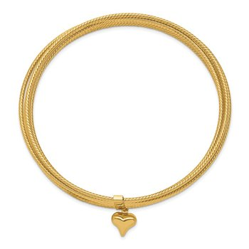 14K w/ Dangle Heart Oversized Slip-on Set of 7 Textured Bangles