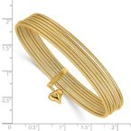 Quality Gold 14K w/ Dangle Heart Oversized Slip-on Set of 7 Textured Bangles