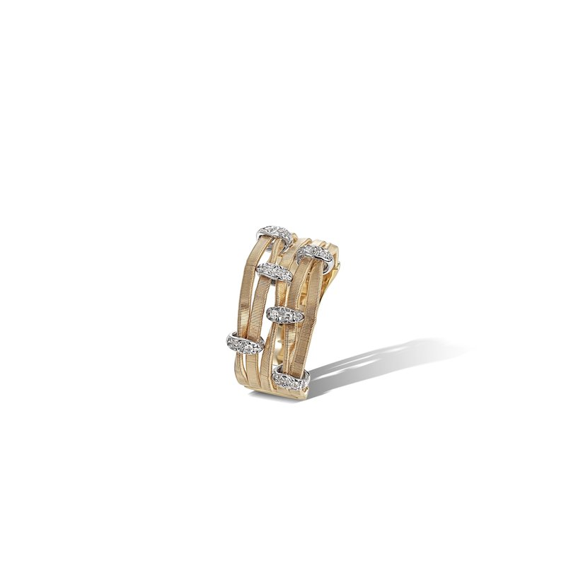 Marco Bicego Marrakech Onde Yellow Gold and Diamond Multi Strand Ring