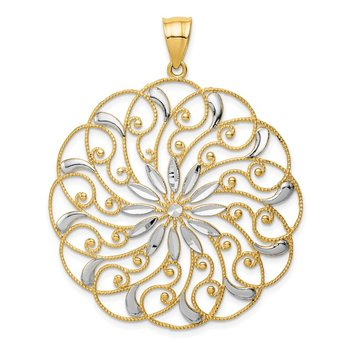 14k and White Rhodium Meridian Swirl Pendant