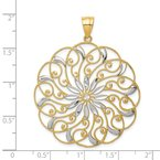 Quality Gold 14k and White Rhodium Meridian Swirl Pendant