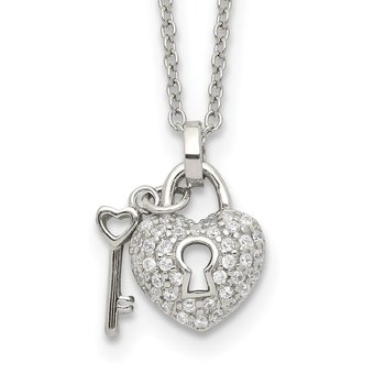 Sterling Silver Polished CZ Heart Lock and Key w/2in. ext. Necklace