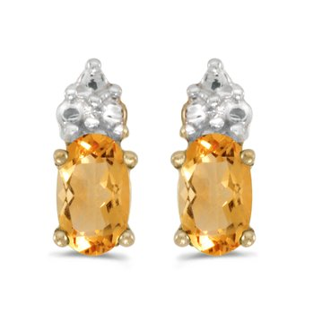 10k Yellow Gold Oval Citrine Earrings