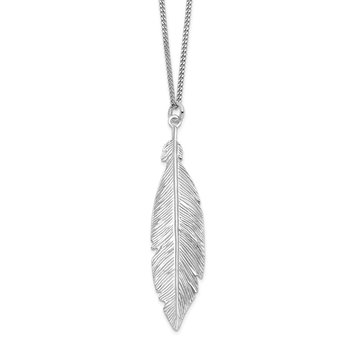Leslie's Sterling Silver Rhodium-plated Leaf w/ 1in ext. Necklace