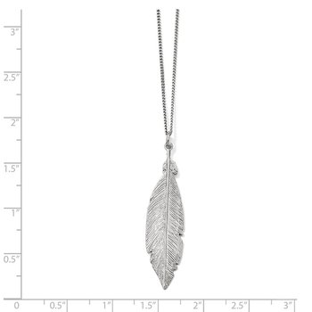 Leslie's Sterling Silver Rhodium-plated Leaf w/1in ext. Necklace