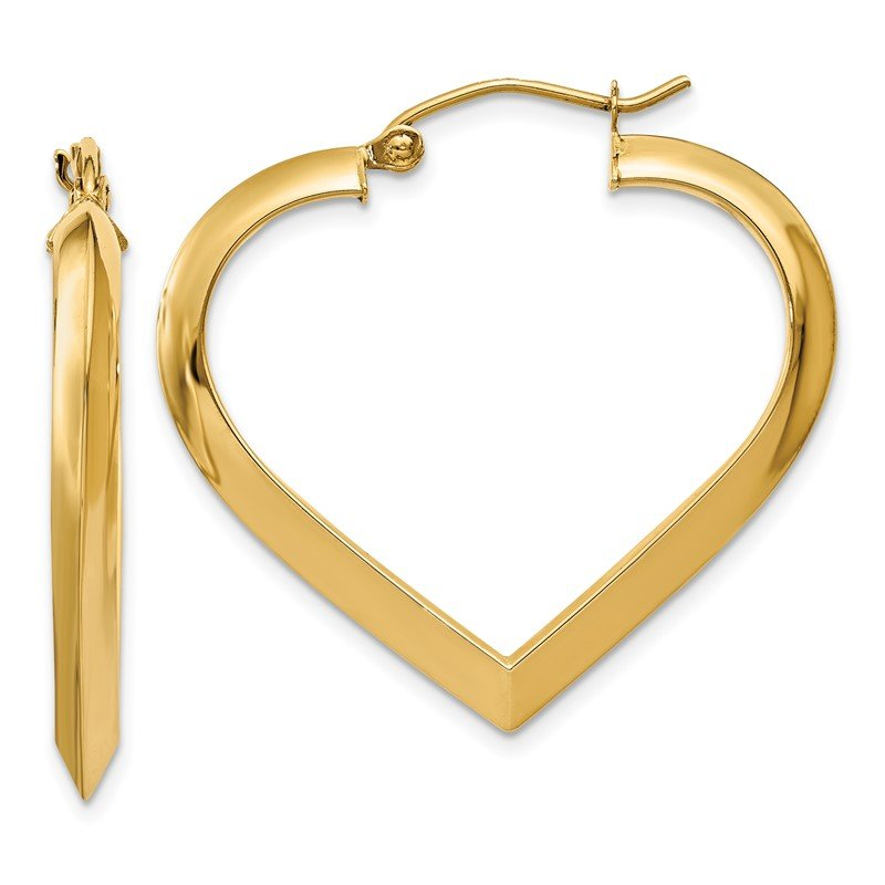 Quality Gold 14k Polished Heart Hoop Earring