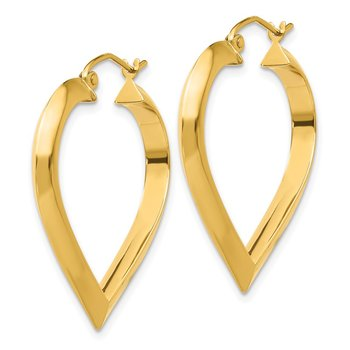 14k Polished Heart Hoop Earring