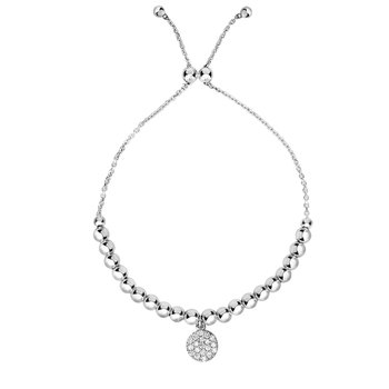 Sterling Silver Circle Bead CZ Charm Friendship Bracelet