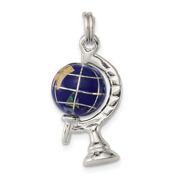 Sterling Silver Blue Enameled Globe Charm