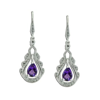 Vintage Inspired Amethyst & Diamond Dangles