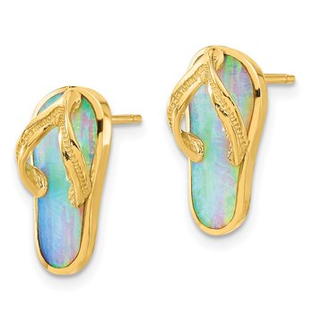 14k Polished w/Created White Opal Flip Flop Post Earrings