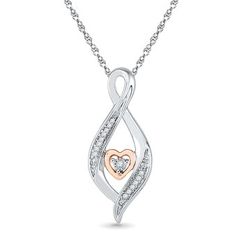 10KT Pink Gold & Silver Diamond Fashion Pendant