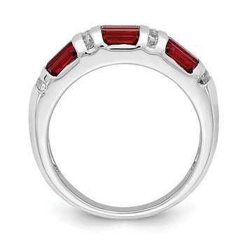 Sterling Silver Rhodium-plated Baguette Garnet & White Topaz Ring