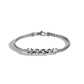 Legends Naga 7MM Station Bracelet in Silver and 18K Gold