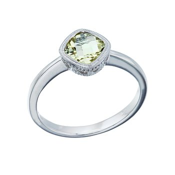 14K White Gold 6 mm Cushion Green Amethyst Ring