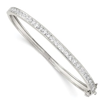 Sterling Silver Rhodium-plated CZ Hinged Bangle Bracelet