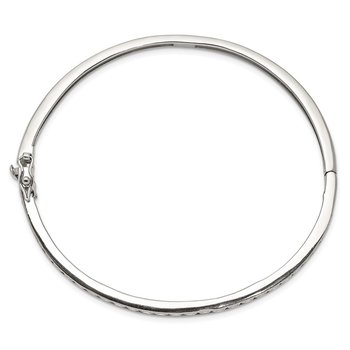 Sterling Silver CZ Oval Hinged Bangle