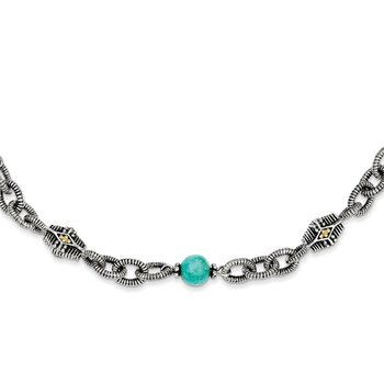 Sterling Silver w/14k Reconstructed Turquoise 20in Necklace