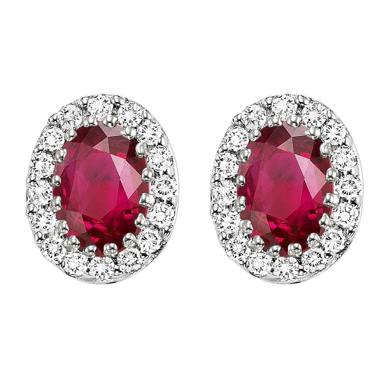 Gemsone 14K Ruby & Diamond Earrings