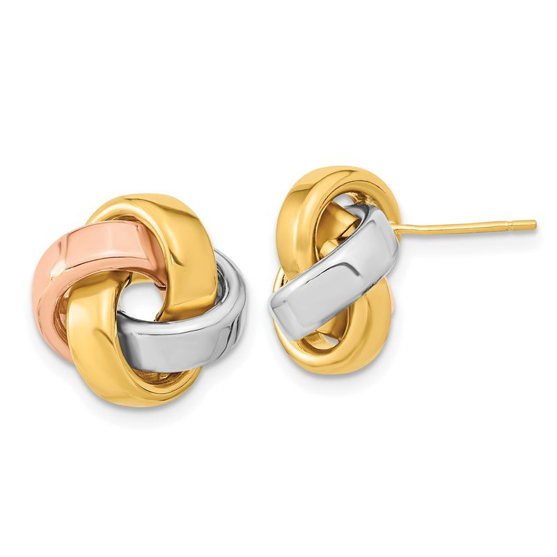 Quality Gold 14k Yellow Gold w/White & Rose Rhod Pol Love Knot Post Earrings