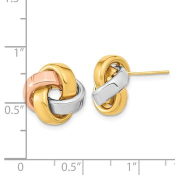 14k Yellow Gold w/White & Rose Rhod Pol Love Knot Post Earrings