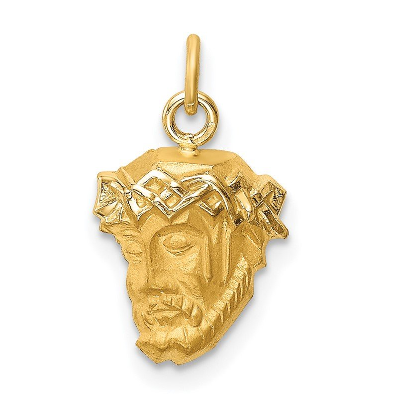 Quality Gold 14k Hollow Polished/Satin Small Jesus Medal