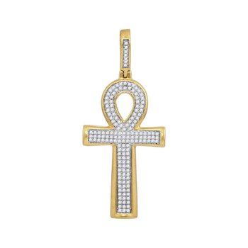 10kt Yellow Gold Mens Round Diamond Ankh Cross Charm Pendant 1/3 Cttw