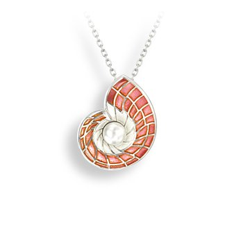 Pink Nautilus Necklace.Sterling Silver-Freshwater Pearl - Plique-a-Jour