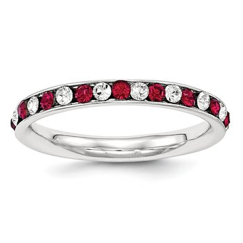Sterling Silver Red & White CZ Eternity Band