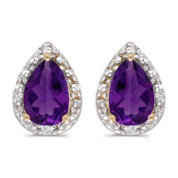 14k Yellow Gold Pear Amethyst And Diamond Earrings